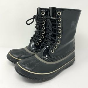 Sorel Black Lace Up Waterproof Snow Boots Size 7